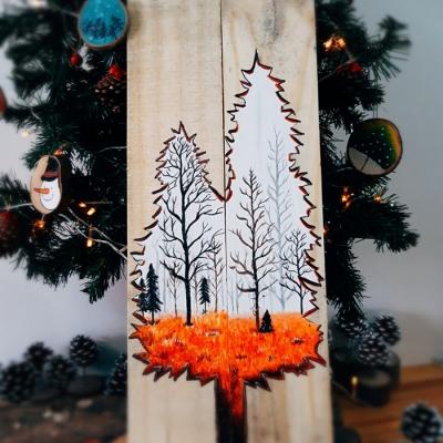 Tranh gỗ rừng thông
